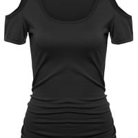 Open Shoulder Black T-shirt