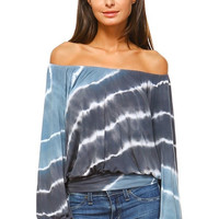 Off the Shoulder Tie Dye Peasant Top with Banded Hem