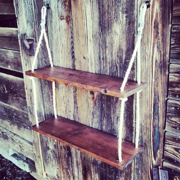 Hanging Shelf Red Oak Stained Double Hanging Shelf Nautical Decor Rustic Country Decor Floating Shelves Suspended Shelves
