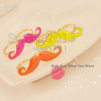 NEW 300PCS Multicolor Vintage Handlebar Big Beard Mustache Moustache Double Finger Adjustable Rin