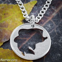 Fish necklace, hand crafted, Bass cut coin