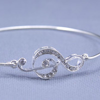 Music Note Symbol Silver  Bracelet ,constellation Charm Bangle,Silver Jewelry ,Custom Gift for Women