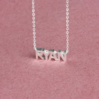 Cubic Name Necklace - Any Initial Necklace - Personalized Gift  -  Sterling Silver