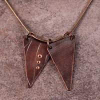 "Roller Printed Copper Triangle Necklace- Diptych- Vertical- Curvy Lines and Crisscross with 18"" Copper Snake Chain"
