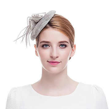 Valdler Linen Gauze Feather Flower Fascinator Small Dinner Party Hat with Hairpin for Dance Tea Party Bridal Wedding Hair Accessories