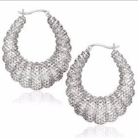 Graduated Mesh Scallop Design Hoop Earrings in Sterling Silver