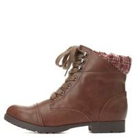 Qupid Sweater-Cuffed Combat Boots by Charlotte Russe - Brown