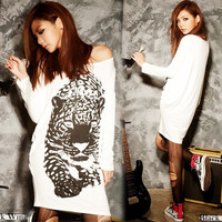 Women Tiger Loose Long Sleeve T-shirts Tops Hip length Mini Dresses Casual