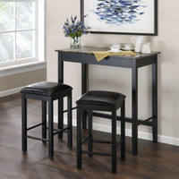 Three-Piece Dining Set Faux Marble Tabletop Black Padded Stools Home Furniture