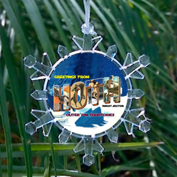Star Wars Ice Planet Hoth Snowflake Blinking Light Holiday Holiday Christmas Tree Ornament