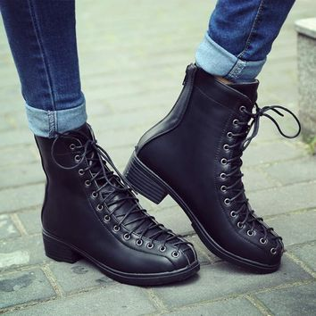 European Lace Up Round Toe Low Chunky Heels Short Boots