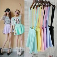 Womens Elegant Waist Suspender Skirt Pastel Skater Flared Pleated Mini Dress US