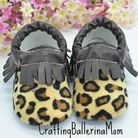 Baby Moccasins, Baby Girl Moccasins, Cheetah Print Shoes, Baby Girl Cheetah Moccasins, Baby Crib Shoes, Moccasin Crib Shoes, Aztec Baby