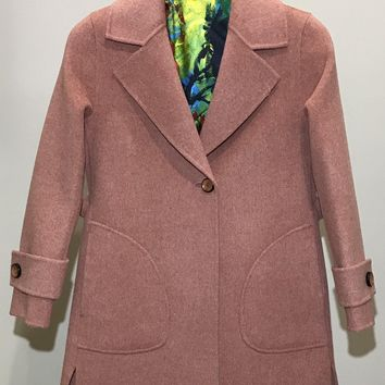 Two-Sided Pure Cashmere & Wool Jacket One Button