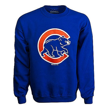 Chicago Cubs Men's Royal Crewneck Sweatshirt with Crawl Bear Logo by Dynasty - Clark Street Sports