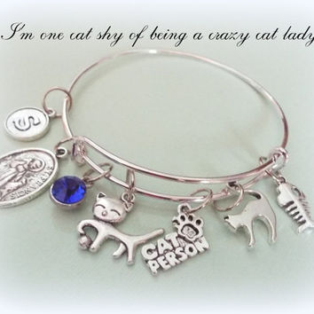 Personalized Cat Lover Gift, Personalized Cat Lover Bracelet, Initial Bracelet, Birthstone Bracelet,Gifts for Her, Personalized Gift for Her