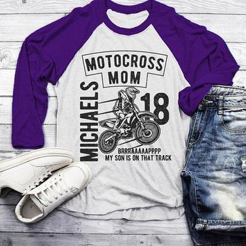 Men's Personalized Motocross Raglan Mom Dirt Bike Race Racing Custom Shirt 3/4 Sleeve