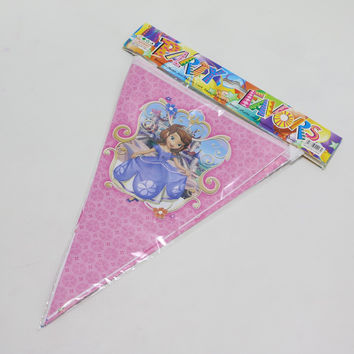 Decoration Pennats Paper Flags Kids Favors Happy Birthday Baby Shower Party Sofia Princess Banners Cartoon Theme Supplies 1set