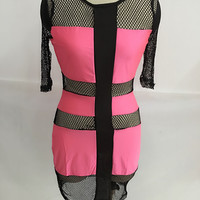 Pink Fishnet Paneled Midi Dress