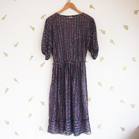 vintage 80s dress / sheer black / floral print / knee length dress / small medium