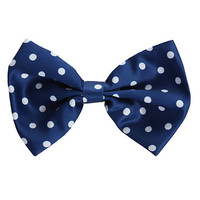 Blue And White Polka Dot Hair Bow