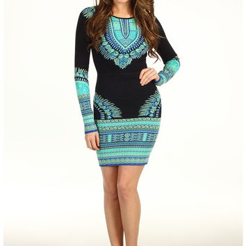 Black Vintage Print Long Sleeve Bodycon Mini Dress