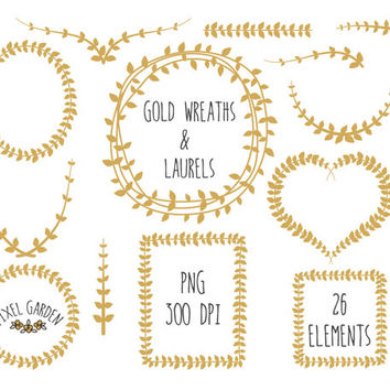 Digital Wreaths Clip Art. Gold Laurels Clip Art. Vine Frames and Borders. Digital Wreaths and Laurels for Weddings, Cards and Scrapbooking.