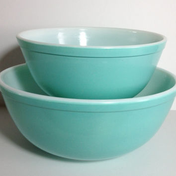 Pyrex Turquoise Mixing Bowl 403 404 Teal Aqua Color Nesting Bowls