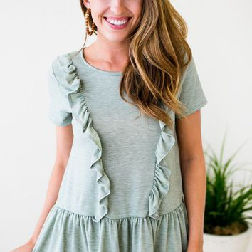 All Mine Ruffle Detail Sage Top
