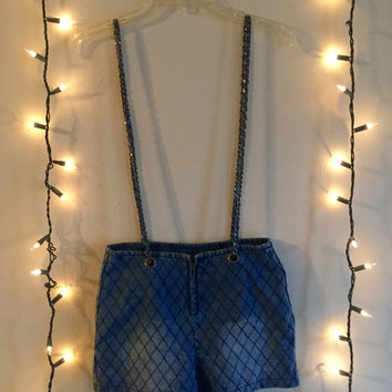 Denim Chain Gang Suspender Shorts