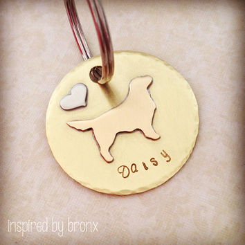 Pet Name tag, pet silhouette, dog tag, pet ID tag, ID tag, hand stamped name tag, Golden Retriever