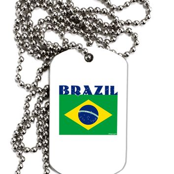 Brazil Flag Adult Dog Tag Chain Necklace