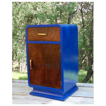 Mid Century Cobalt  Blue End Table Nightstand Wood & Painted Bedroom Living Room Modern Design Furniture Door Storage MCM Gift For Him Her