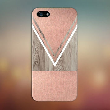 Scratched Rose Gold x White Chevron Wood Design Phone Case for iPhone 6 6 Plus iPhone 5 5s 5c 4 4s Samsung Galaxy s6 s5 s4 & s3 and Note 5 4