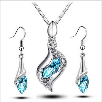 New Wedding 2017 Austrya Crystal Jewelry Sets Water Drop Pendants Necklaces Dangle Earring Plated for Women