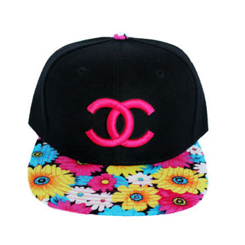 "Chanel inspired ""CC"" designer snapback from Lavish Snapbacks. Available in Floral / Zebra / Neon Green"