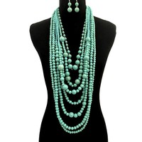 Long Layered Cracked Turuoise Pearl Necklace Set