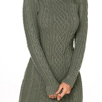 Army Green Slouchy Cable Mini Sweater Dress