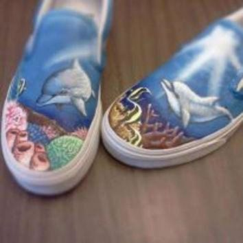 DCCKIJG Custom Vans Shark Sea Life Hand painted Shoes Ocean Painting Kicks Unique Dolphin Snea