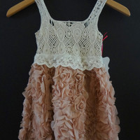 NEW Adorable Baby Girls Rose & Crochet Boutique Dress Great Wedding Dress/Party Dress/Picture Dress 2/3yrs, 3/4yrs, 4/5yrs