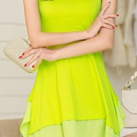 Jewel Neck Sleeveless Solid Color Chiffon Dress