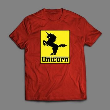 "FERRARI LOGO PARODY ""UNICORN"" CUSTOM ART T-SHIRT"