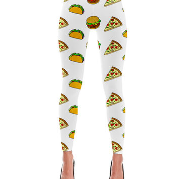 Pizza Taco Burger Cartoon Pattern Print Leggings