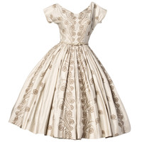 Anne Fogarty 1950s 50s Vintage Floral Embroidery Full Sweep Party or Wedding Dress
