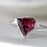 Garnet Ring - Capricorn Jewelry - Silver and Garnet Ring - Raw Crystal Ring - Natural Stone