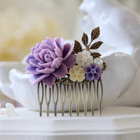 Lavender Purple and Ivory Flowers Brass Leaf Hair Comb, Vintage Style Wedding Bridal Hair Comb, Floral Collage Hair comb, Bridesmaid Gift