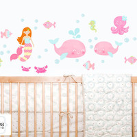 Mermaid Beach Surf Ocean Whales Fabric Girls Kids Wall Decals Stickers - not vinyl