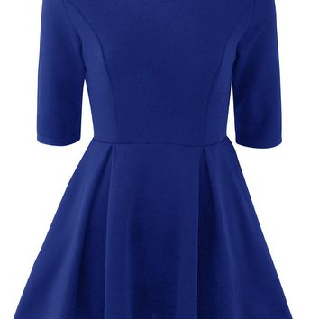 Casual Round Neck Plain Half Sleeve Mini Skater Dress