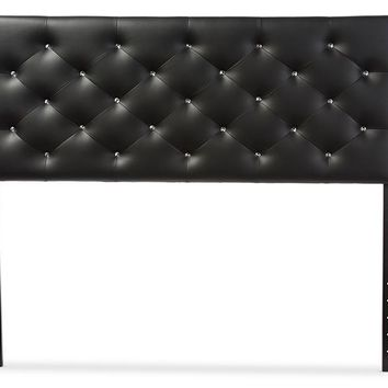 Baxton Studio Viviana Modern and Contemporary Black Faux Leather Upholstered Button-tufted Queen Size Headboard  Set of 1