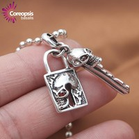 New Arrivals Necklaces Pendants 925 Sterling Silver Jewelry Retro Thai Silver Red Eye Skull Head key Lock couple